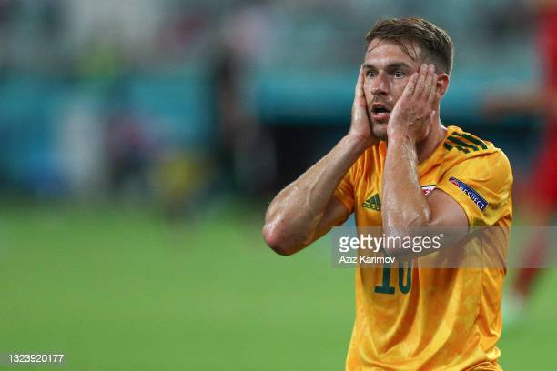 Daniel James of Wales reacts during the UEFA Euro 2020 Championship Group A match between Turkey and Wales at Baku Olympic Stadium on June 16, 2021...