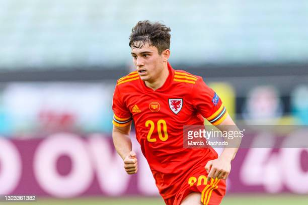 Daniel James of Wales runs in the field during the UEFA Euro 2020 Championship Group A match between Wales and Switzerland on June 12, 2021 in Baku,...