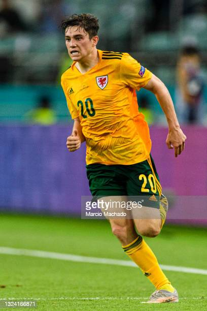 Daniel James of Wales runs in the field during the UEFA Euro 2020 Championship Group A match between Turkey and Wales on June 16, 2021 in Baku,...