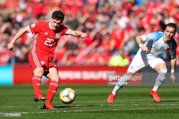Daniel James of Wales scores his sides first goal during the 2020 UEFA European Championships group E qualifying match between Wales and Slovakia at...