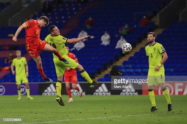 Daniel James of Wales scores the opening goal during the FIFA World Cup 2022 Qatar qualifying match between Wales and Czech Republic on March 30,...