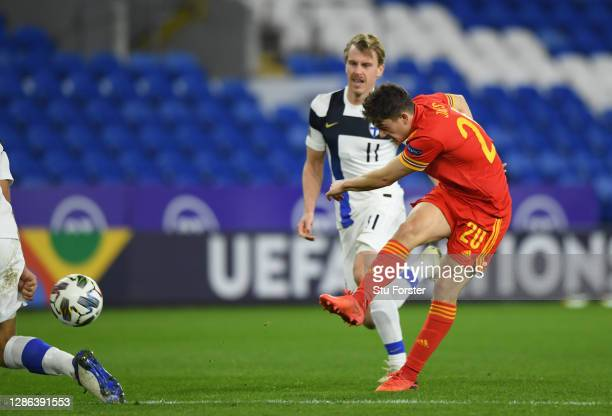 Daniel James of Wales scores their team's second goal during the UEFA Nations League group stage match between Wales and Finland at Cardiff City...