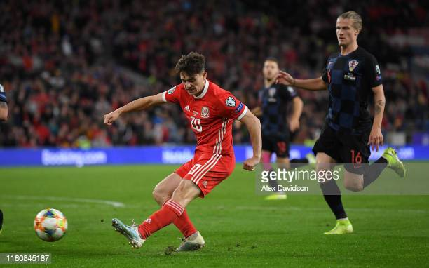 Daniel James of Wales shoots at goal during the UEFA Euro 2020 qualifier between Wales and Croatia at Cardiff City Stadium on October 13 2019 in...