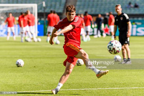 Daniel James of Wales warms up prior to the UEFA Euro 2020 Championship Group A match between Wales and Switzerland on June 12, 2021 in Baku,...