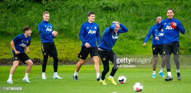 Daniel James Scott McTominay Harry Maguire Phil Jones Ashley Young Chris Smalling of Manchester United in action during a first team training session...