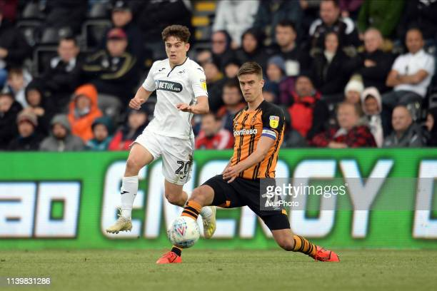 Daniel JamesMarkus Henriksen during the Sky Bet Championship match between Swansea City and Hull City at the Liberty Stadium Swansea on Saturday 27th...