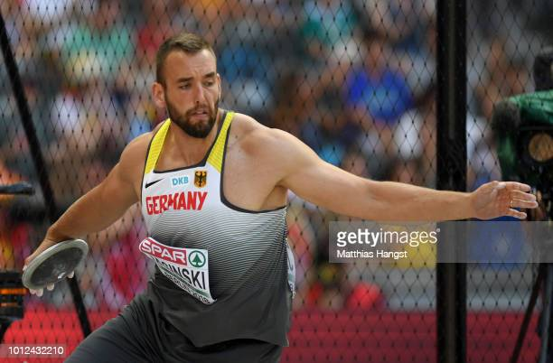 Daniel Jasinski of Germany competes in competes in the Men's Discus qualification during day one of the 24th European Athletics Championships at...