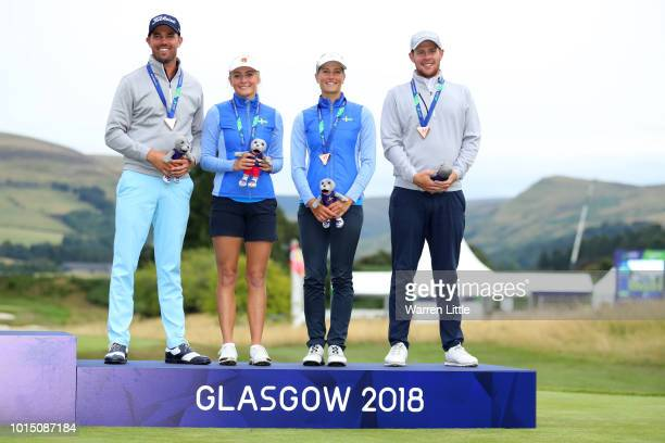 Daniel Jennevret Oscar Flores Julia Engstrom and Johanna Gustavsson of Sweden pose with their bronze medals during the team competition mixed...