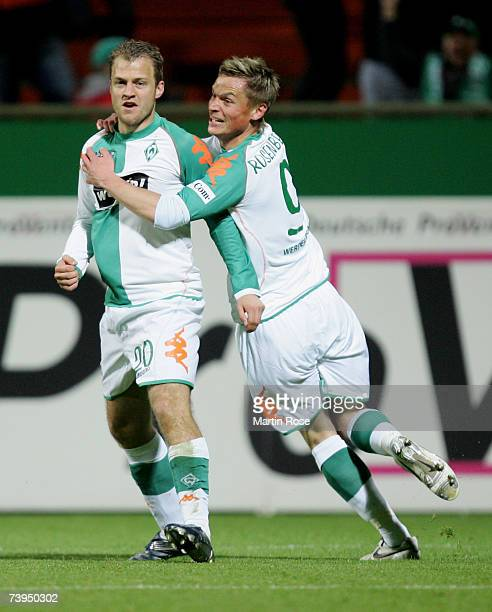 Daniel Jensen and Markus Rosenberg of Bremen celebrate the 1st goal during the Bundesliga match between Werder Bremen and Alemannia Aachen at the...