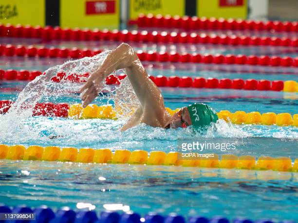 Daniel Jervis in action during the men's open 1,500 metres freestyle last heat, during Day 3 of the 2019 British Swimming Championships, at Tollcross...