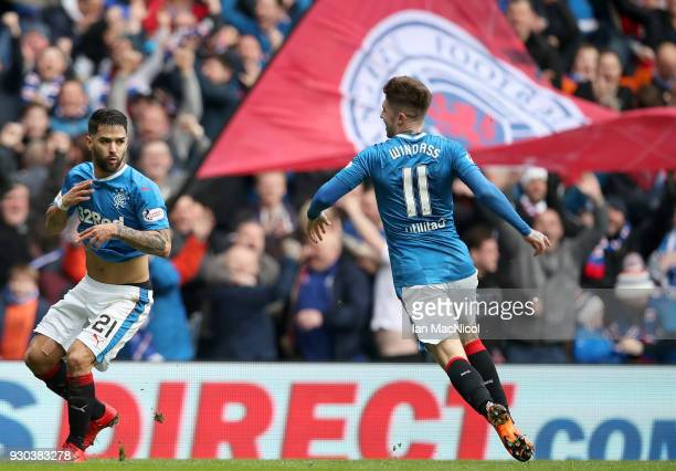 Daniel Joao Santos Candeias of Rangers celebrates after scoring his sides second goal with Josh Windass of Rangers during the Ladbrokes Scottish...