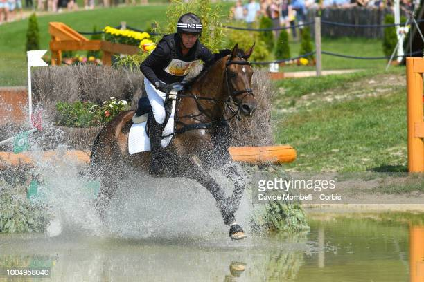 Daniel Jocelyn of New Zealand riding Grovine de Reve during the obstacle in the water of the Cross Country test DHLPrize in the park of the CHIO of...