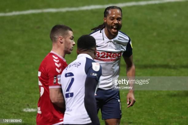 Daniel Johnson of Preston North End celebrates after opening the scoring from the penalty spot during the Sky Bet Championship match between Preston...