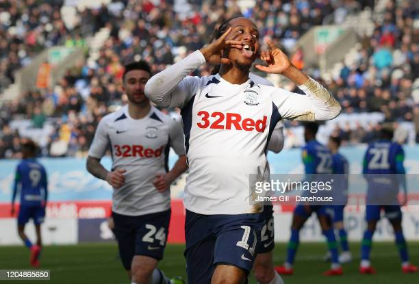 Daniel Johnson of Preston North End celebrates after scoring their second goal during the Sky Bet Championship match between Wigan Athletic and...