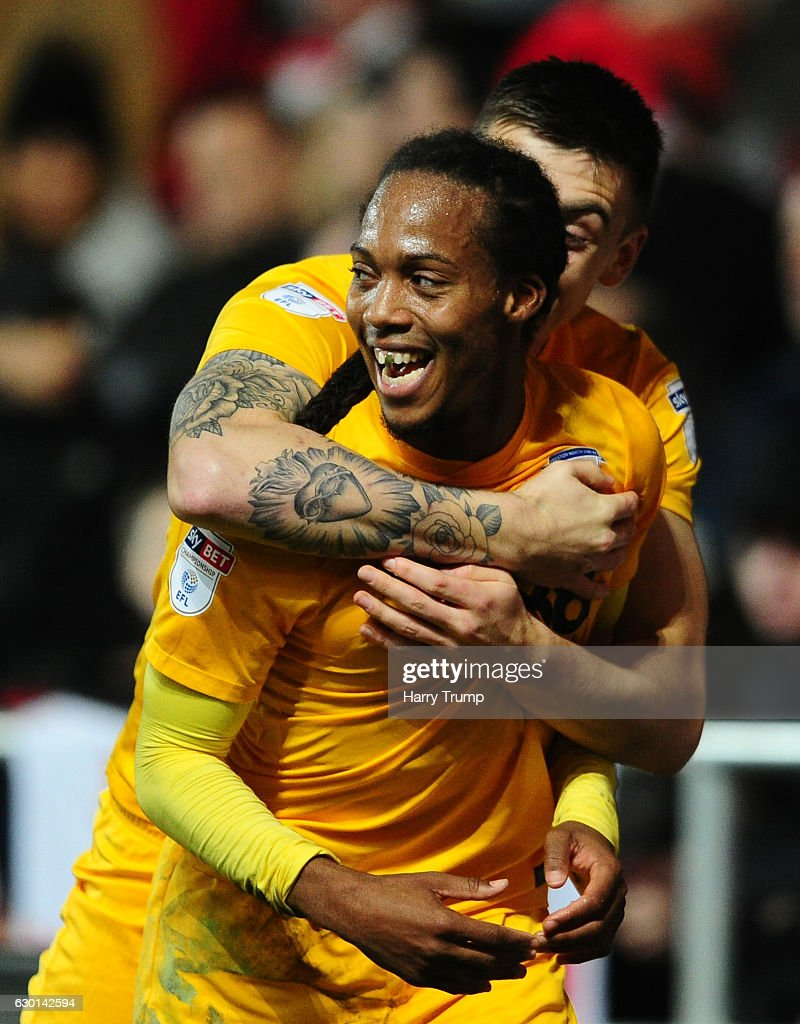 Daniel Johnson of Preston North End (R) celebrates his sides goal during the sky Bet Championship match between Bristol City and Preston North End at Ashton Gate on December 17 2016 in Bristol, England.