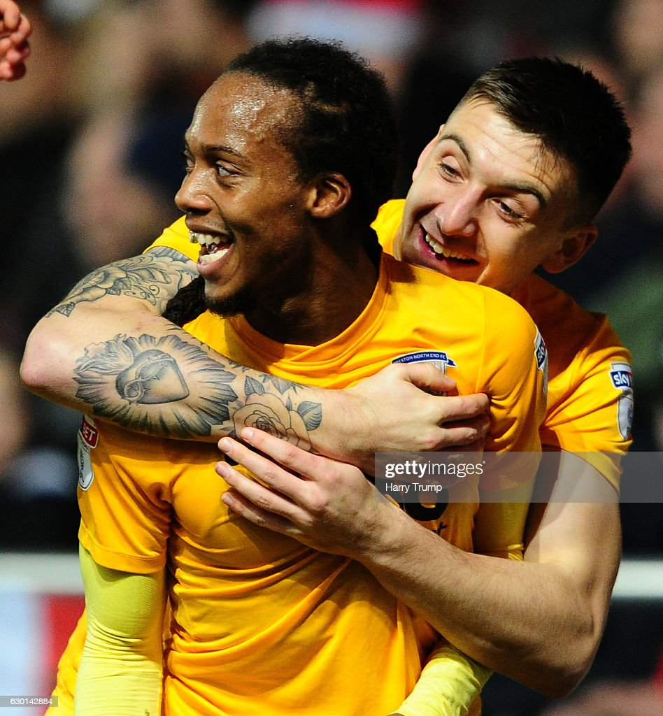 Daniel Johnson of Preston North End(L) celebrates his sides goal during the sky Bet Championship match between Bristol City and Preston North End at Ashton Gate on December 17 2016 in Bristol, England.