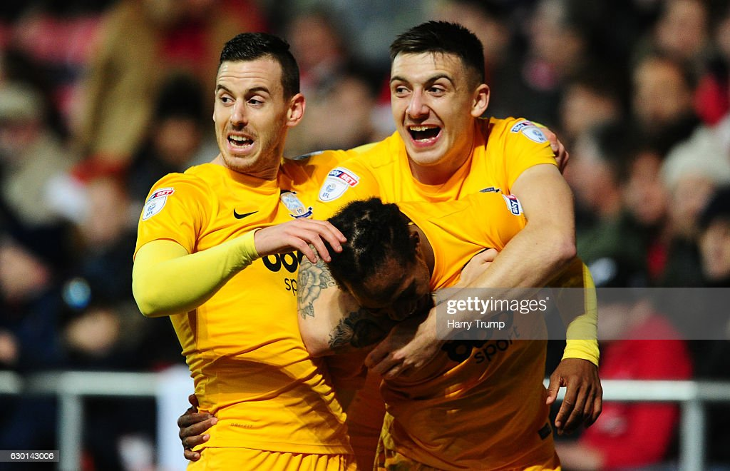Daniel Johnson of Preston North End(C) celebrates his sides goal during the sky Bet Championship match between Bristol City and Preston North End at Ashton Gate on December 17 2016 in Bristol, England.