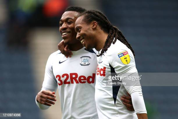 Daniel Johnson of Preston North End celebrates scoring his side's first goal during the Sky Bet Championship match between Preston North End and...