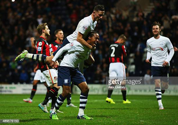 Daniel Johnson of Preston North End celebrates with team mates as he scores their second and equalising goal from the penalty spot during the Capital...
