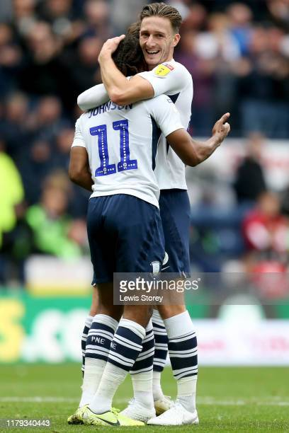 Daniel Johnson of Preston North End celebrates with teammate Ben Davies after scoring his sides opening goal during the Sky Bet Championship match...
