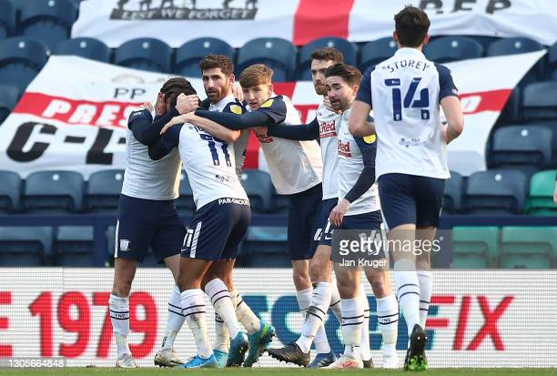 Daniel Johnson of Preston North End celebrates with teammates after scoring his team's first goal during the Sky Bet Championship match between...