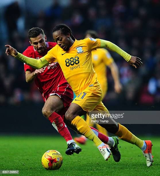 Daniel Johnson of Preston North End is tackled by Gary O'Neil of Bristol City during the sky Bet Championship match between Bristol City and Preston...