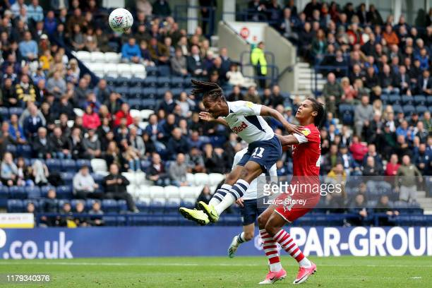Daniel Johnson of Preston North End scores his sides opening goal during the Sky Bet Championship match between Preston North End and Barnsley at...