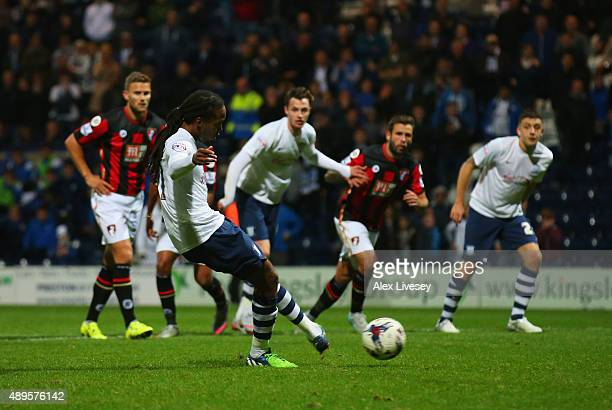 Daniel Johnson of Preston North End scores their second and equalising goal from the penalty spot during the Capital One Cup third round match...