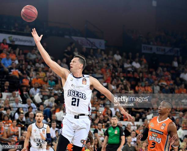 Daniel Johnson of the 36ers attempts a lay up during the round 16 NBL match between the Cairns Taipans and the Adelaide 36ers at the Cairns...