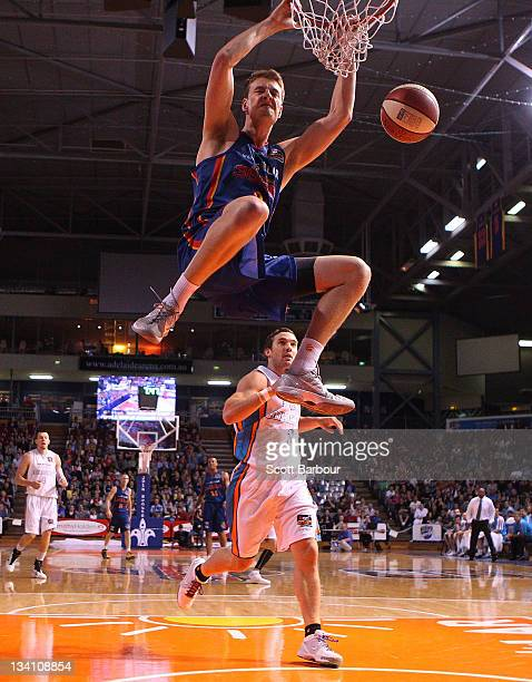 Daniel Johnson of the 36ers dunks the ball during the round eight NBL match between the Adelaide 36ers and the Gold Coast Blaze at Adelaide Arena on...