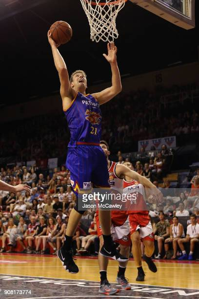 Daniel Johnson of the 36ers shoots during the round 15 NBL match between the Illawarra Hawks and Adelaide United at Wollongong Entertainment Centre...