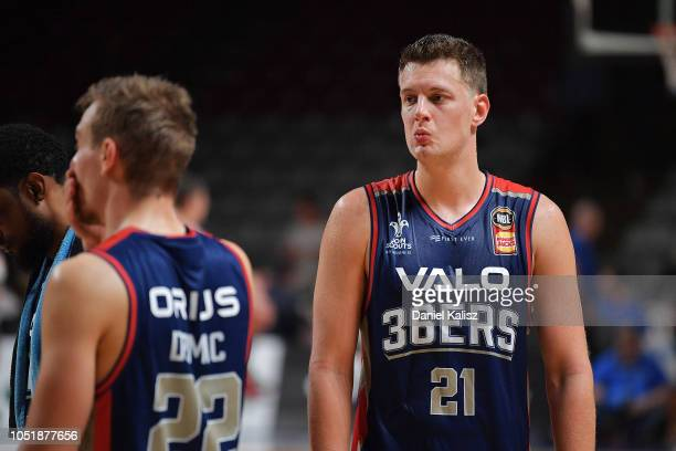 Daniel Johnson of the Adelaide 36ers looks on during the round one NBL match between the Adelaide 36ers and the Perth Wildcats at Titanium Security...