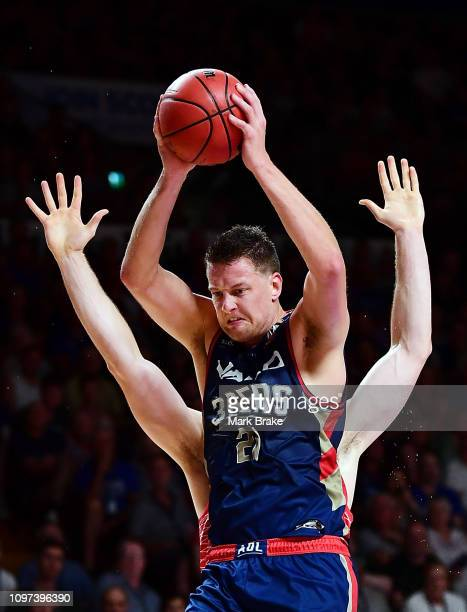 Daniel Johnson of the Adelaide 36ers rebounds during the round 14 NBL match between the Adelaide 36ers and the Perth Wildcats at Titanium Security...