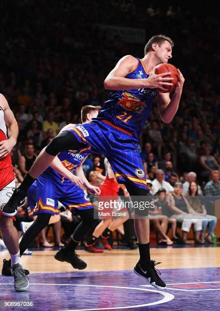Daniel Johnson of the Adelaide 36ers rebounds during the round 15 NBL match between the Adelaide 36ers and the Illawarra Hawks at Titanium Security...