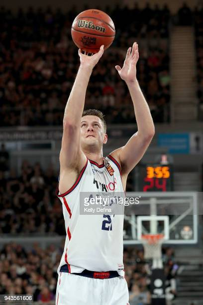 Daniel Johnson of the Adelaide 36ers shoots during game five of the NBL Grand Final series between Melbourne United and the Adelaide 36ers at Hisense...