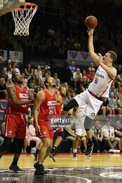 Daniel Johnson of the Adelaide 36ers shoots during the round 18 NBL match between the Illawarra Hawks and the Adelaide 36ers at Wollongong...