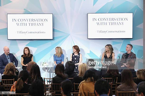 Daniel Jones Dawoon Kang Candace Bushnell Ellie Kemper Sarah Rutson and Dan Savage speak at the Tiffany Co In Conversation on April 15 2016 in New...