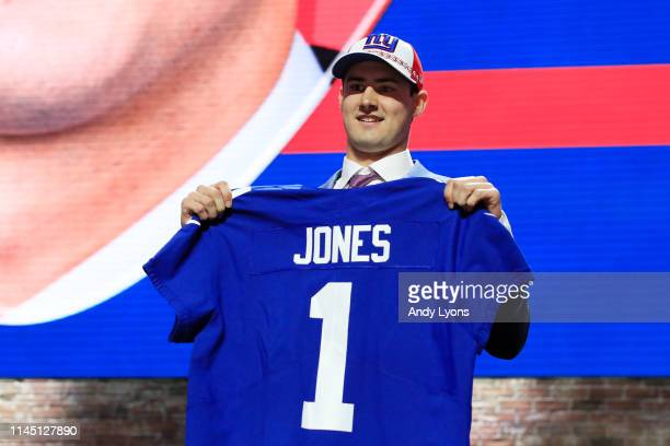 Daniel Jones of Duke reacts after being chosen overall by the New York Giants during the first round of the 2019 NFL Draft on April 25 2019 in...