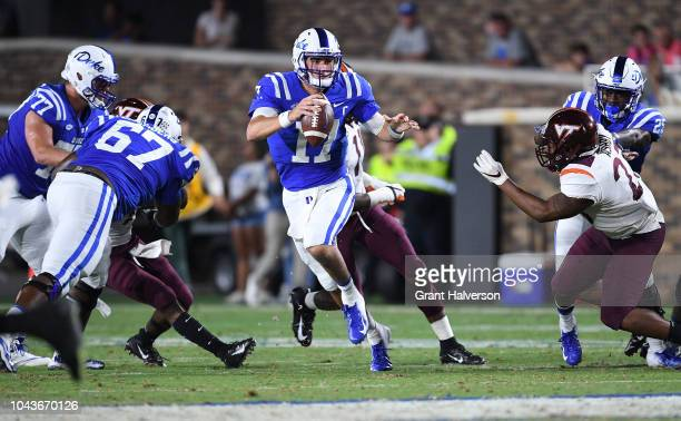 Daniel Jones of the Duke Blue Devils against the Virginia Tech Hokies during their game at Wallace Wade Stadium on September 29 2018 in Durham North...