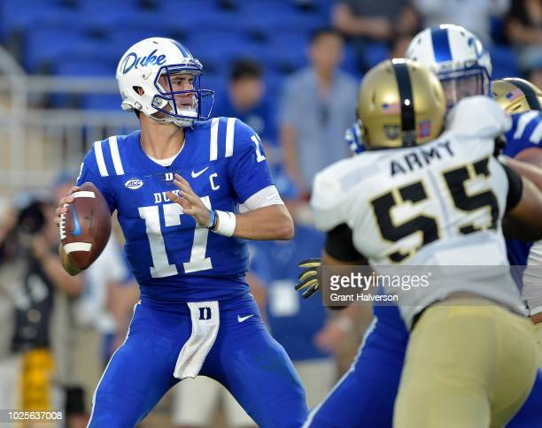 Daniel Jones of the Duke Blue Devils drops back to pass against the Army Black Knights during their game at Wallace Wade Stadium on August 31 2018 in...