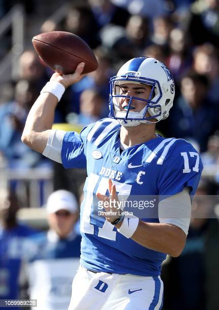 Daniel Jones of the Duke Blue Devils drops back to pass against the North Carolina Tar Heels during their game at Wallace Wade Stadium on November 10...