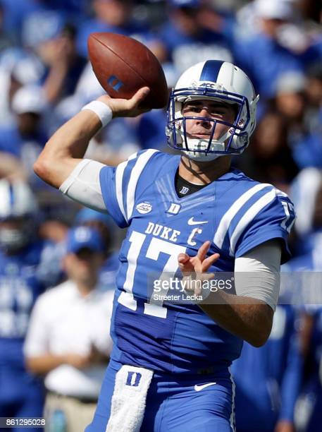 Daniel Jones of the Duke Blue Devils drops back to pass against the Florida State Seminoles during their game at Wallace Wade Stadium on October 14...