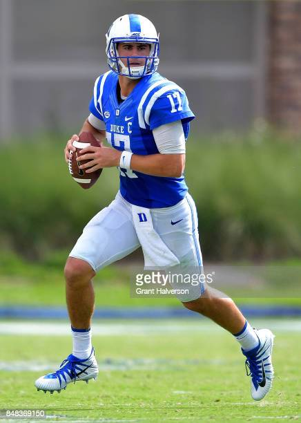 Daniel Jones of the Duke Blue Devils in action against the Baylor Bears during the game at Wallace Wade Stadium on September 16 2017 in Durham North...