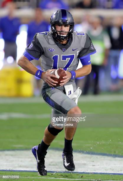 Daniel Jones of the Duke Blue Devils in action against the Miami Hurricanes during their game at Wallace Wade Stadium on September 29 2017 in Durham...