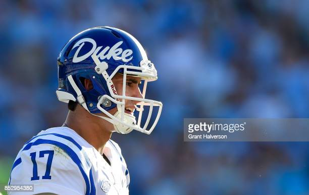 Daniel Jones of the Duke Blue Devils in action against the North Carolina Tar Heels during their game at Kenan Stadium on September 23 2017 in Chapel...