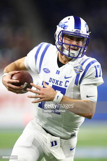 Daniel Jones of the Duke Blue Devils looks for yards during a first half run while playing the Northern Illinois Huskies during the Quick Lane Bowl...