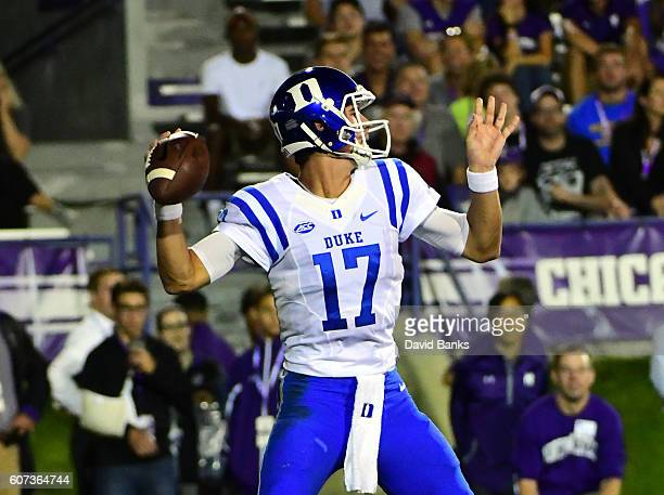 Daniel Jones of the Duke Blue Devils looks to pass against the Northwestern Wildcats during the first half on September 17 2016 at Ryan Field in...