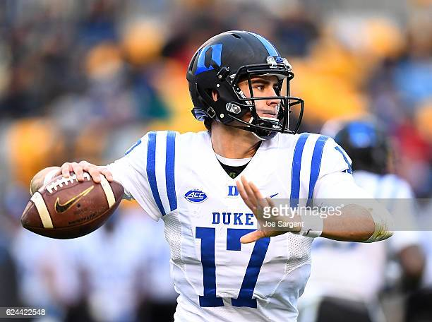 Daniel Jones of the Duke Blue Devils looks to pass during the second quarter against the Pittsburgh Panthers at Heinz Field on November 19 2016 in...
