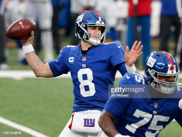 Daniel Jones of the New York Giants in action against the Dallas Cowboys at MetLife Stadium on January 03, 2021 in East Rutherford, New Jersey. The...
