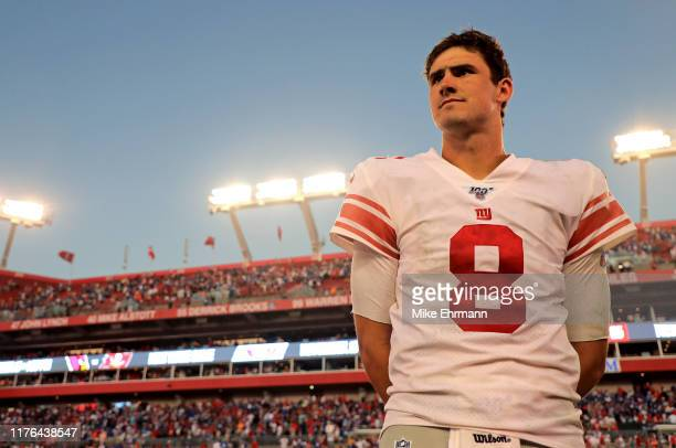 Daniel Jones of the New York Giants looks on after winnoing a game against the Tampa Bay Buccaneers at Raymond James Stadium on September 22, 2019 in...